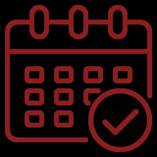 Rød kalender - ikon til tidsgaranti