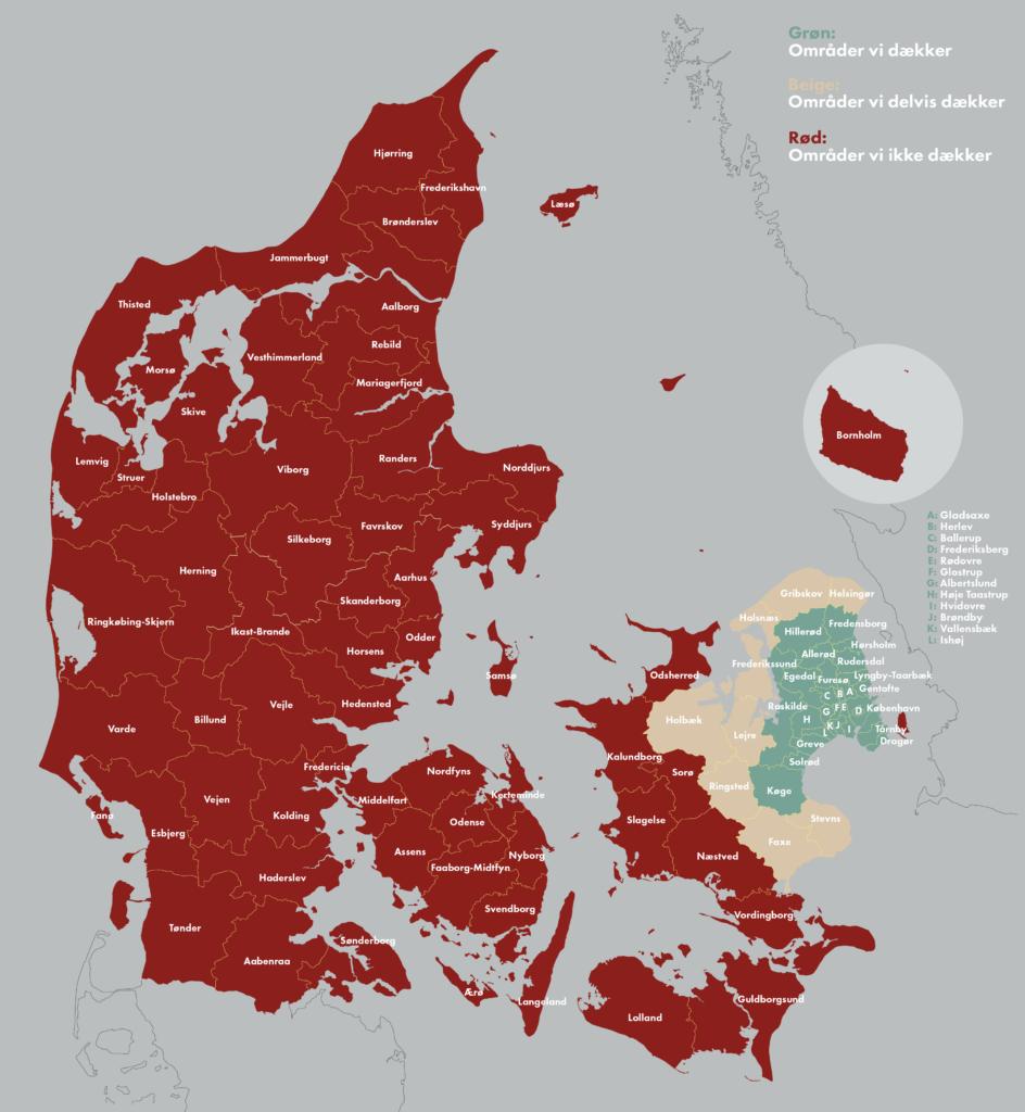 Kommunekort over hvilke områder vi dækker
